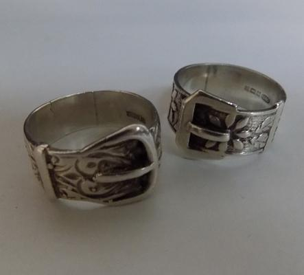 Pair of silver belt buckle rings