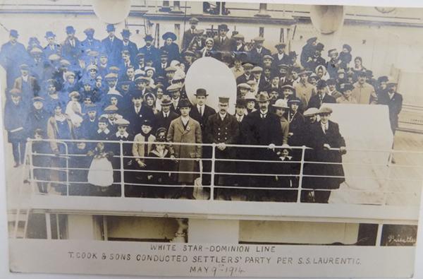 1914 Thomas Cook postcard showing a settler's party boarding the SS Lavrentic for emigration