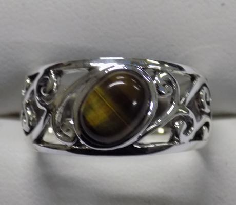 Silver and tiger eye ring