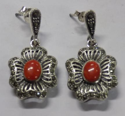 Pair of silver coral and marcasite earrings