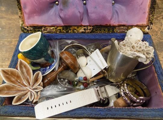 Box of collectables + sterling silver