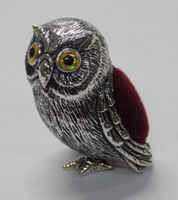 Silver owl pin cushion