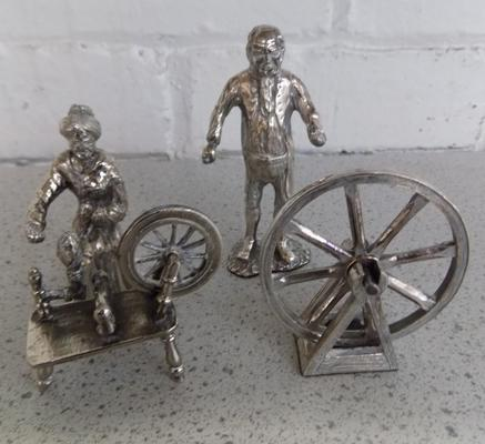 Royal Hampshire figures, silver on Pewter, 'Spinning Days' set
