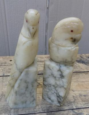 Pair of marble parakeet book ends