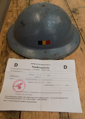 Helmet with paperwork - dated 1944