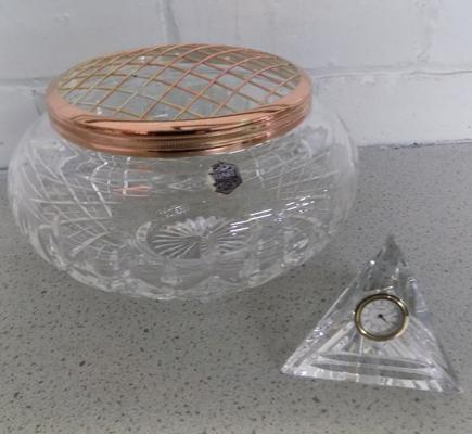 Stuart Crystal Shaftsbury rose bowl, 8 inch diameter + Waterford crystal pyramid clock paperweight - both in good condition