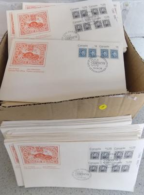 Box containing 250+ Canadian FDCs