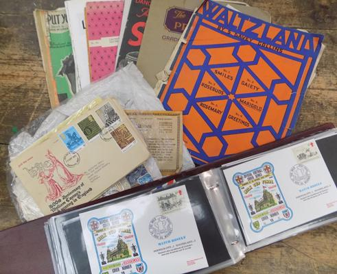 Box of ephemera + first day covers