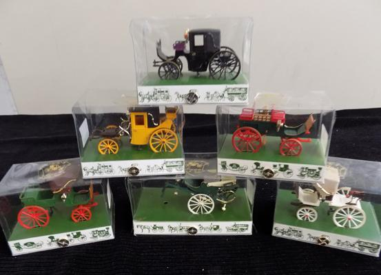 6 x Brumm Victorian carriages, all boxed
