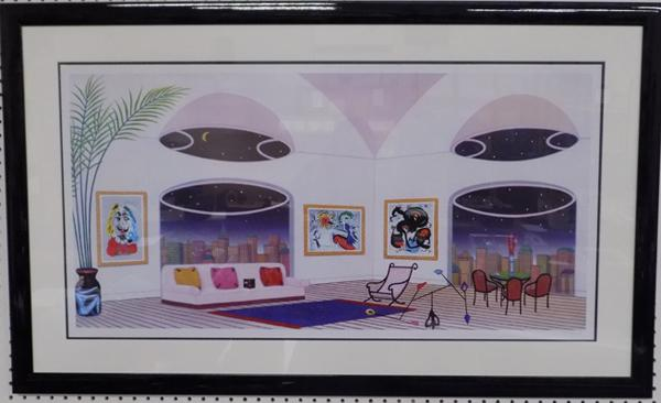 Large Seriolithograph 'Oval Lounge' Francois Ledan 2004, 18 x 36 inches, incl. certificate of authenticity