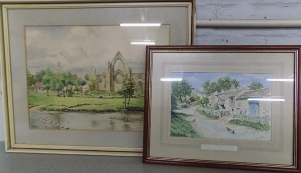 L. Evans 'Bolton Abbey' watercolour & B. Herbert 'Thorpe', the hidden village watercolour