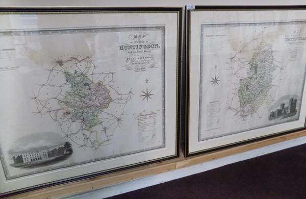 "2x Large framed maps of Huntington and Nottingham C.J.Greenwood - 33"" x 28 1/2"""
