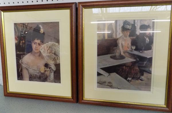 2x Framed prints; Edgar Degas 'Absinthe Drinker' and Berthe Morisot 'Young Girl at the Ball'