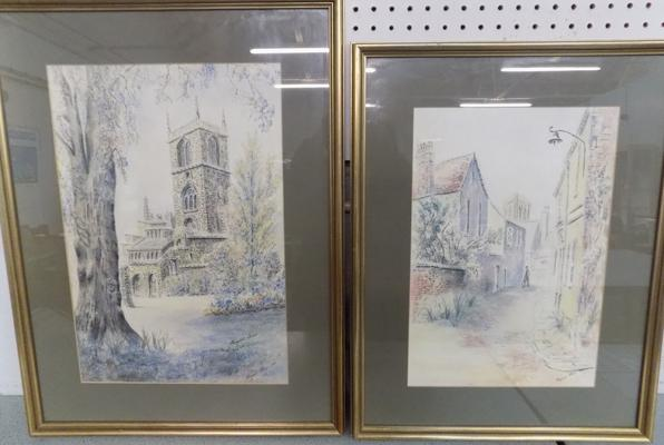 2x Original watercolours by Margaret Shires - scenes in York