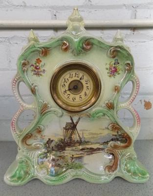 Large Dutch ceramic mantle clock - W/O