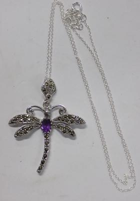 Silver amethyst and marcasite dragonfly pendant on silver chain