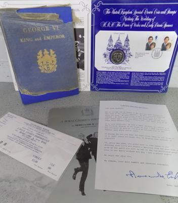 Commemorative book - coins & stamps + Morecambe & Wise Programme & tickets, 1977