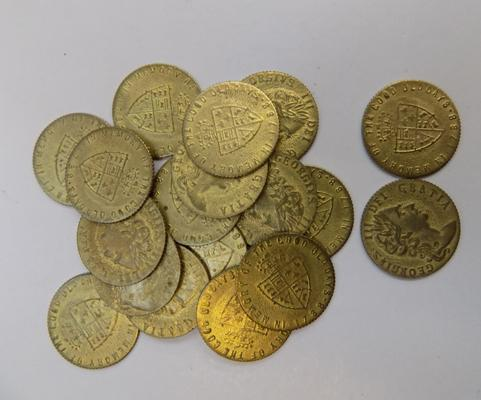 20x Victorian brass 1/2 Guinea gaming tokens