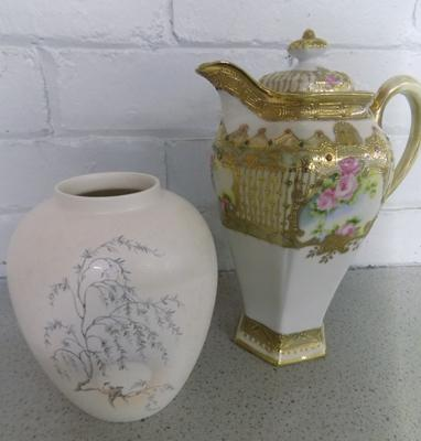 Poole lustre vase (birds in trees decoration) + very ornate coffee pot with faint Noritaki back stamp - both good condition