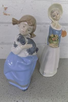 NAO girl with puppy & Tengra porcelain lady, no damage found