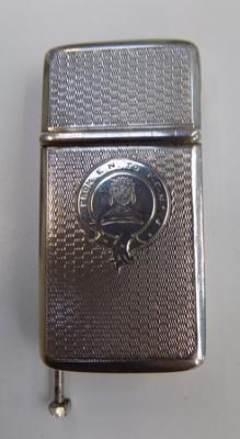 Early Victorian silver two compartment vesta circa 1863 incorporating a cutter and cigar piercer