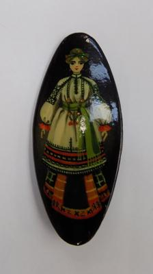 Russian papier-mache hand painted brooch