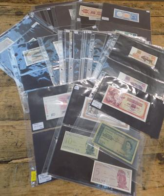 145 assorted World banknotes
