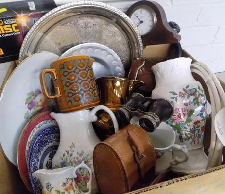 Box of vintage collectables incl. Ainsley, cutlery, plated ware, opera glasses etc.