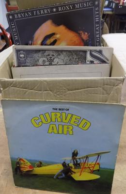 Box of LP records inc rock, prog, pop, Curved Air, Dylan. Yes Eagles