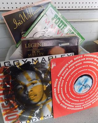 Box of over 50 records inc Reggae. Soul & Motown