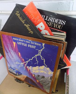 Box of approx 50 records inc Uriah Heep, Moody Blues, Little Feat etc