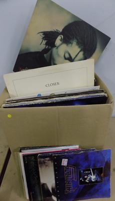 "Box of LP records inc Joy Division, Metallica, ACDC + 7"" singles"
