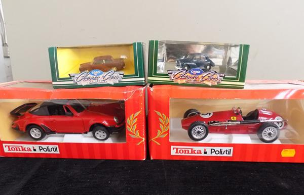2 x Tonka Polistil - one Ferrari, one Porsch 911 + two classic cars, all boxed