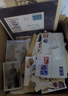 Large box of album pages etc..., earlier material