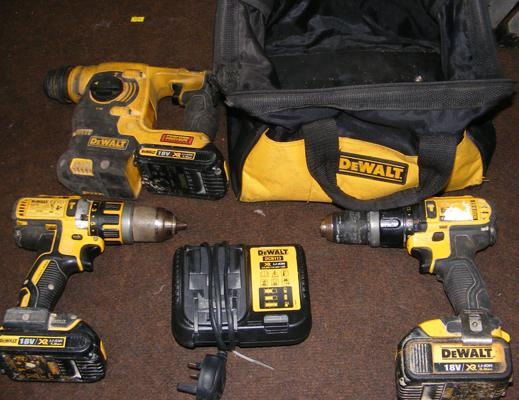 Dewalt 18 volt cordless 2 drills, plus heavy duty SDS hammer drill, 3 batteries & charger - good working order