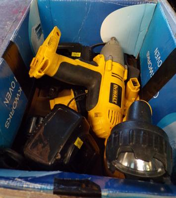 Selection of 18 volt drills, incl. Dewalt, 1/2 inch impacts + torches, batteries & chargers - all good working order
