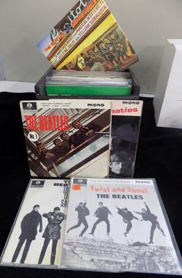 Full box of Beatles singles inc EPs, French, Italian & some rare (x51)
