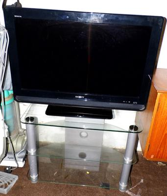Glass TV stand & Sony Bravia flatscreen TV, 31 inches - W/O