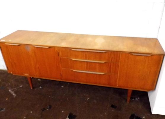 Three drawer, three cupboard retro sideboard