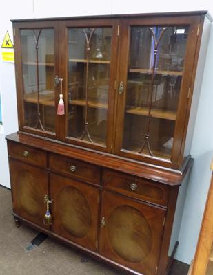 Glass topped inlaid display cabinet