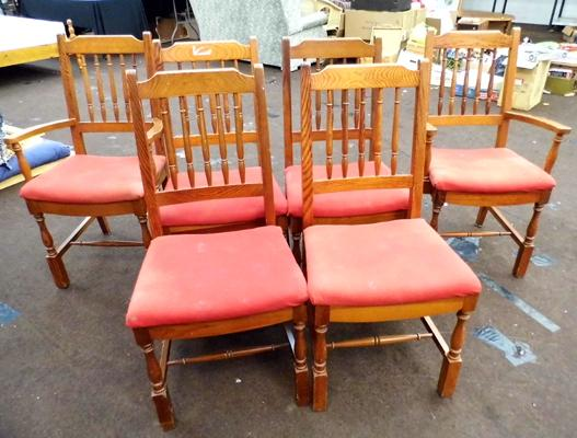 4 x chairs plus 2 x carvers, red seated (6 in total)