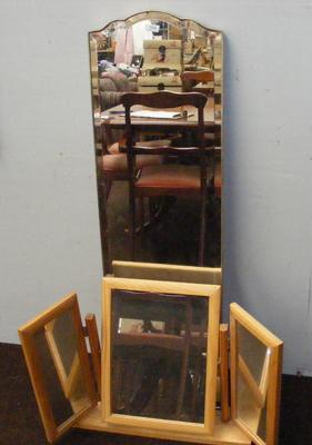 Fold out dressing table pine mirror and tall bevel edged mirror