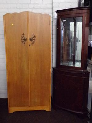Vintage wardrobe and glass topped display cabinet