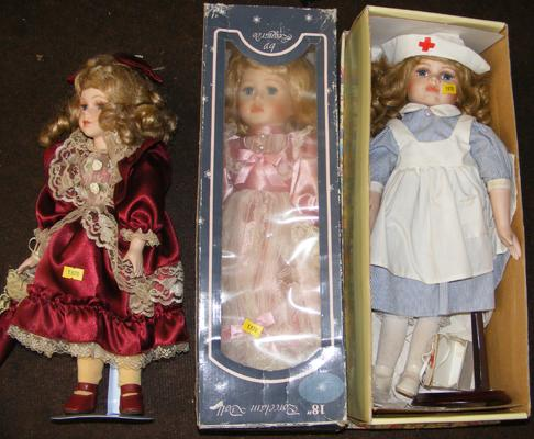 Three dolls, all in fancy dress, one in nurses outfit - 2 boxed