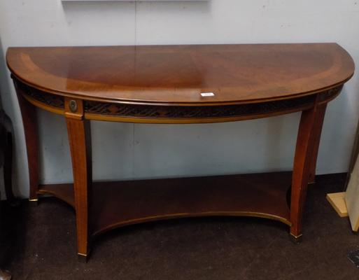 Large demi-moon hall table with carved front