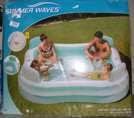 Summer-Waves paddling pool, boxed - 90 x 90 x 26 inches