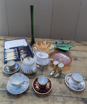 Collection of ceramics, brass, silver plate, carnival glass etc...