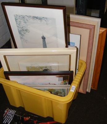 Selection of framed prints, pictures + mirror