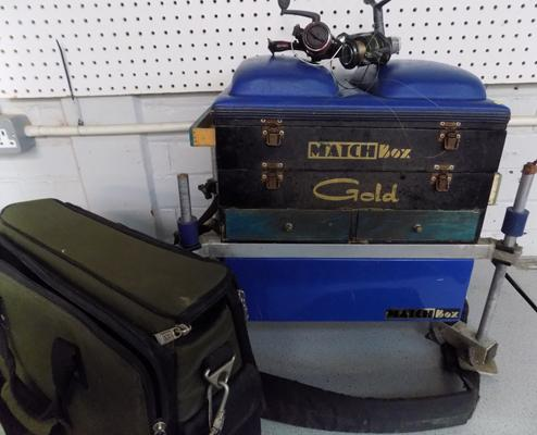 Match Box gold fishing seat tackle box, bag, 2 reels and line