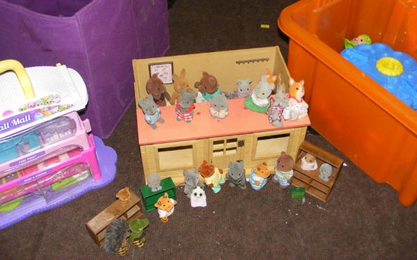 Box of toys incl. Sylvanian Families & Playdoh